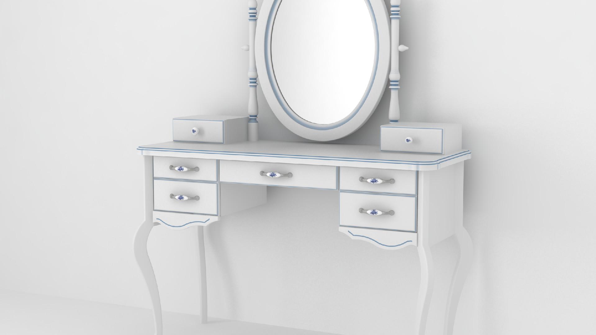 Макияжный столик белый синяя патина