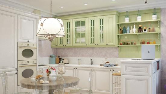 Кухня Элегия бук (белая эмаль и фисташковый)