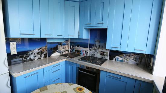 Кухня Вариант-Б бук (голубая эмаль)